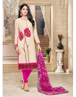 Office Wear Cream Chanderi Cotton Salwar Suit - 16758
