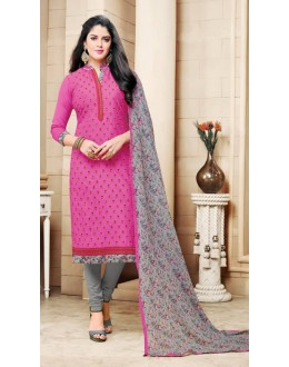 Office Wear Pink Chanderi Cotton Salwar Suit - 16760