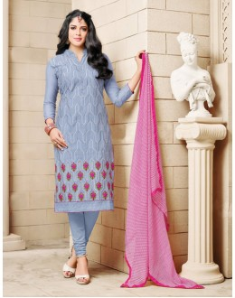 Grey Blue Colour Chanderi Cotton Salwar Suit - 16762