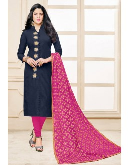 Ethnic Wear Blue Chanderi Cotton Salwar Suit - 16763