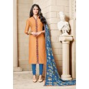 Ethnic Wear Orange Chanderi Cotton Salwar Suit - 16764
