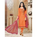 Ethnic Wear Orange Chanderi Cotton Salwar Suit - 16767