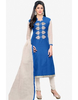 Office Wear Blue Chanderi Salwar Suit - 16772