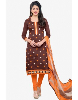 Office Wear Brown Chanderi Salwar Suit - 16776