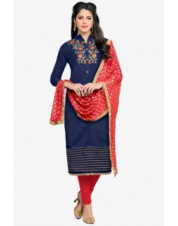 Blue Colour Chanderi Embroidery Salwar Suit - 16778