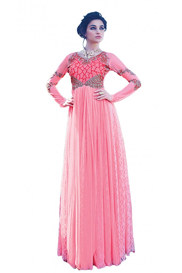 Party Wear Pink Net Gown - 16782