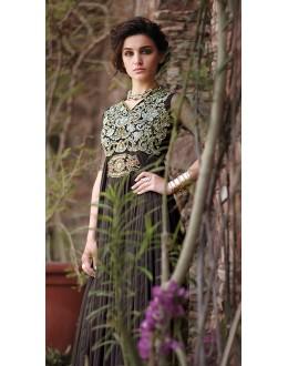 Party Wear Coffee Net Embroidery Gown - 16783