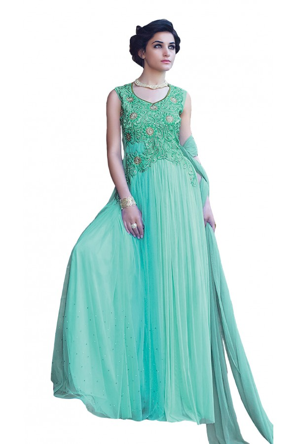 Designer Light Blue Net Embroidery Gown - 16784