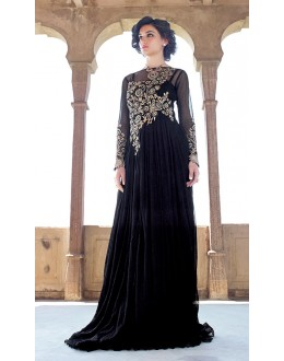 Party Wear Black Net Embroidery Gown - 16787