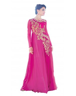Party Wear Dark Pink Net Gown - 16788