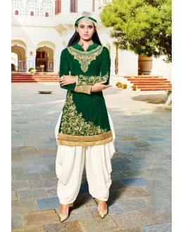 Green Colour Velvet Designer Patiyala Suit - 16794