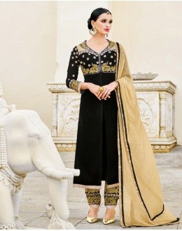 Ethnic Wear Black Velvet Salwar Suit  - 16797