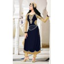 Festival Wear Navy Blue Velvet Salwar Suit  - 16800