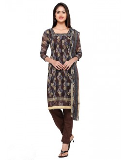 Casual Wear Brown Georgette Salwar Suit - 16806