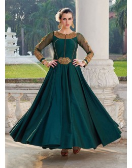 Party Wear Ready Made Green Pure Taffeta Gown - 16874