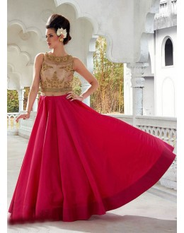 Traditional Readymade Red Pure Bhagalpuri Gown - 16875
