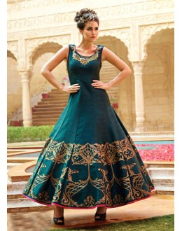 Wedding Wear Readymade Pure Bhagalpuri Gown - 16878