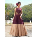 Multi-Colour Ready-Made Pure Bhgalpuri Gown - 16886