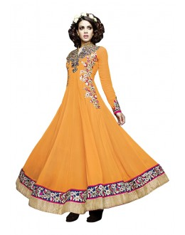 Georgette Orange Embroidery Anarkali Suit  - 16905