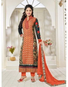 Hina Khan In Orange Georgette Salwar Suit - 16911