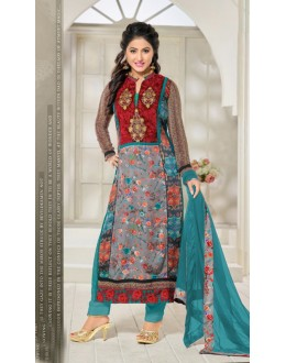 Hina Khan In Multi-Colour Georgette Salwar Suit - 16912