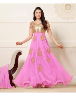 Karishma Kapoor In Gold & Pink Anarkali Suit  - 16977
