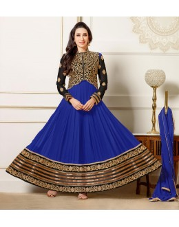 Karishma Kapoor In Blue Georgette Anarkali Suit  - 16979