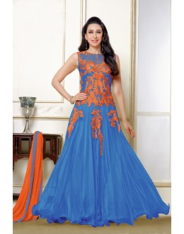 Karishma Kapoor In Blue Net Anarkali Suit  - 16984