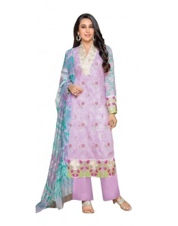 Karishma Kapoor In Purple Cotton Satin Salwar Suit  - 17014