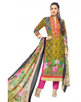 Karishma Kapoor In Multi-Colour Cotton Satin Salwar Suit  - 17020