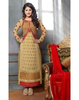 Hina Khan In Beige Georgette Salwar Suit - 17024
