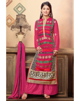 Hina Khan In Pink Georgette Palazzo Suit  - 17033