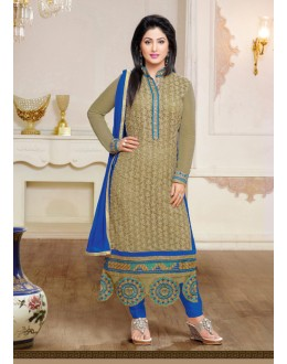 Hina Khan In Beige Georgette Salwar Suit - 17061