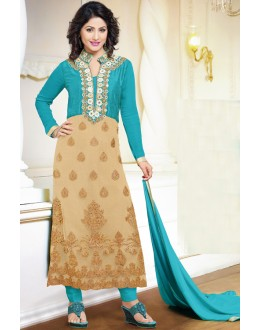 Hina Khan In Georgette Embroidery Salwar Suit - 17064
