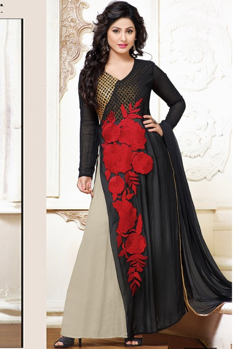 Hina Khan In Black & Grey Georgette Anarkali Suit - 17065