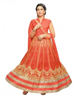 Karishma Kapoor In Orange Georgette Anarkali Suit  - 17068