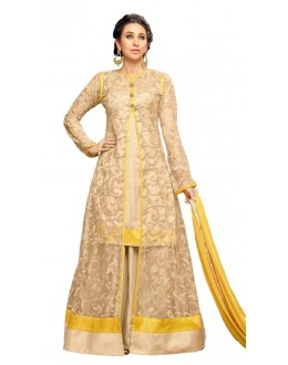 Karishma Kapoor In Cream Net Anarkali Suit  - 17073