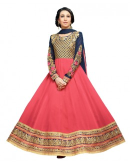 Karishma Kapoor In Pink Georgette Anarkali Suit  - 17074