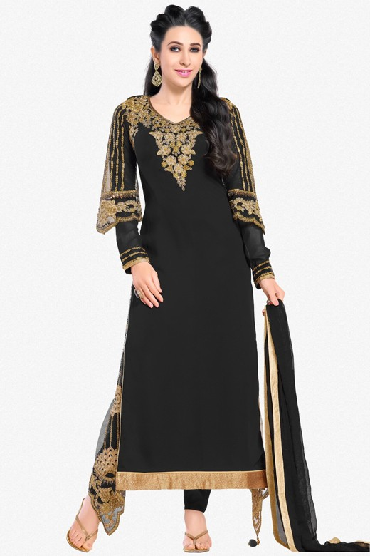 Karishma Kapoor In Black Georgette Salwar Suit  - 17111