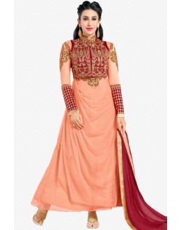 Karishma Kapoor In Light Pink Georgette Anarkali Suit  - 17112