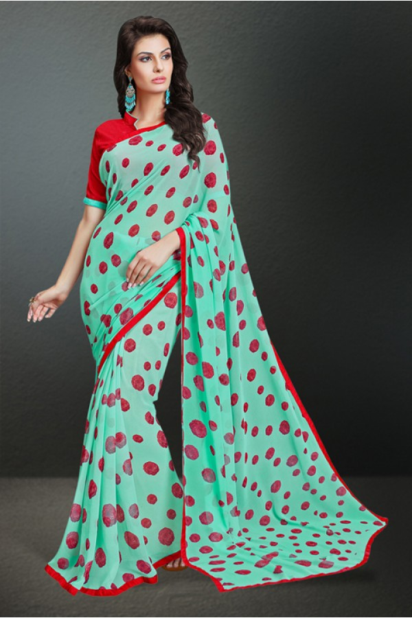 Casual Wear Turquoise Georgette Saree  - 17148