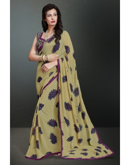 Party Wear Beige Georgette Saree  - 17151