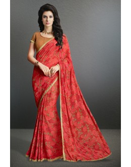 Red Colour Georgette Printed Saree  - 17153