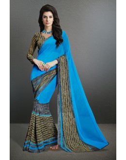 Georgette Blue Printed Saree  - 17155