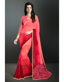 Party Wear Pink Georgette Saree  - 17159