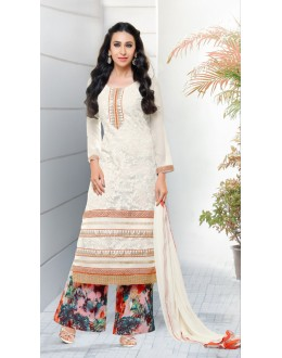 Karishma Kapoor In Off White Georgette Palazzo Suit  - 17163