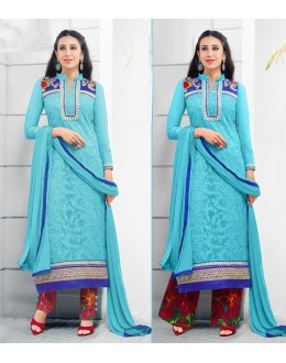 Karishma Kapoor In Blue Georgette Salwar Suit  - 17169