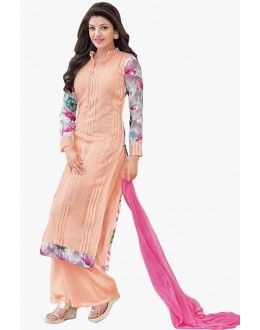 Casual Wear Light Orange Georgette Palazzo Suit - 17176