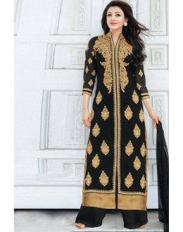 Festival Wear Black Georgette Palazzo Suit - 17177