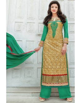 Party Wear Gold & Green Georgette Palazzo Suit - 17178